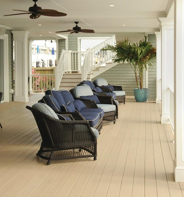 deck inspiration featuring TimberTech AZEK Harvest Collection in brownstone premier white composite