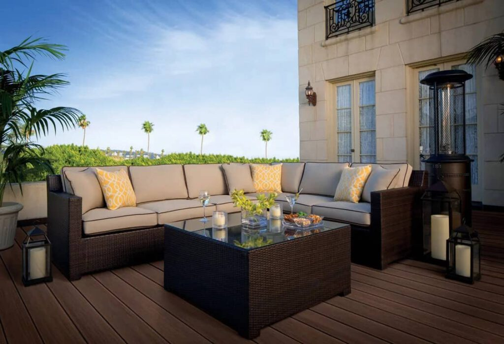 Deck Inspiration featuring TimberTech AZEK Harvest Collection in Kona with outdoor furniture