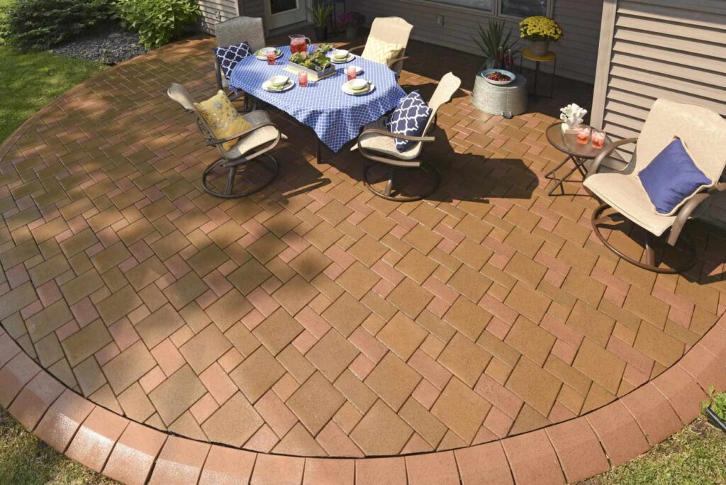 Pavers featuring TimberTech Pavers boardwalk olive resurface with dinning area