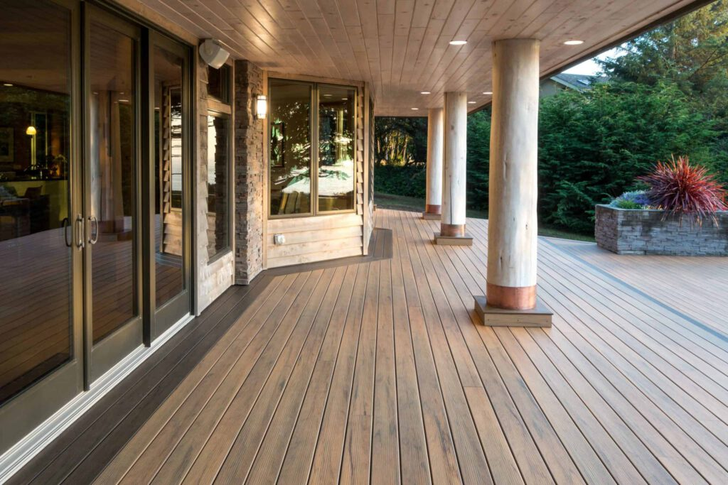 Deck featuring TimberTech PRO Legacy Collection in Tigerwood with columns