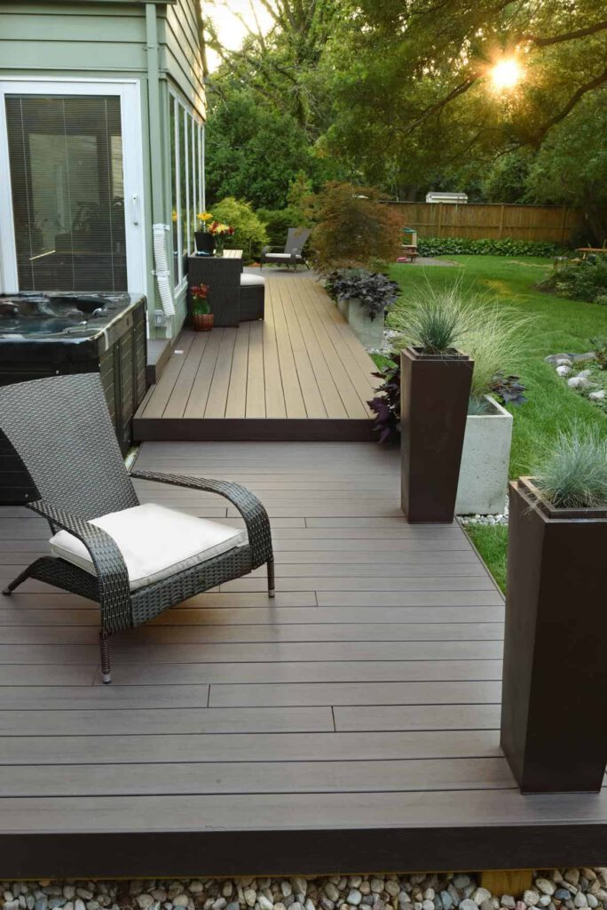 Deck featuring TimberTech PRO Legacy Collection in Espresso with outdoor chair