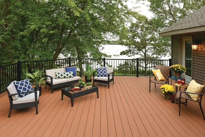 TimberTech AZEK Vintage Collection in Cypress with Impression Rail Black single width with outdoor seating