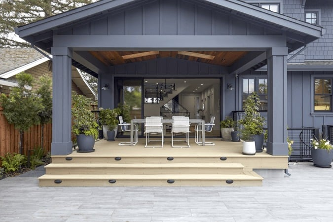 Backyard inspiration featuring TimberTech AZEK Vintage Collection in Weathered Teak