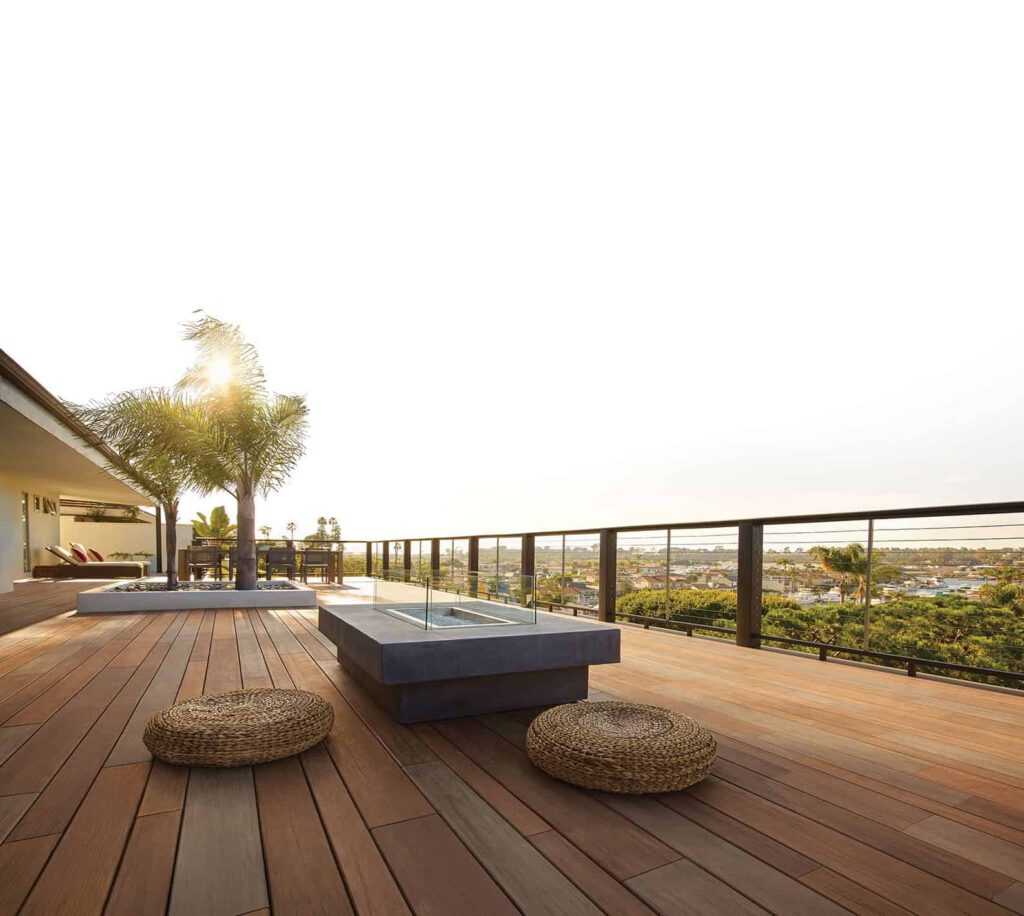 TimberTech AZEK Vintage Collection in Mahogany with outdoor seating