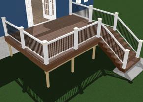 3d Rendering of 12x16 deck