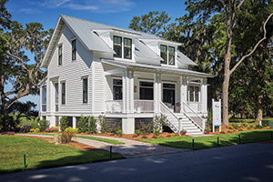 Front porch project by TimberTech featuring Porch boards in Oyster