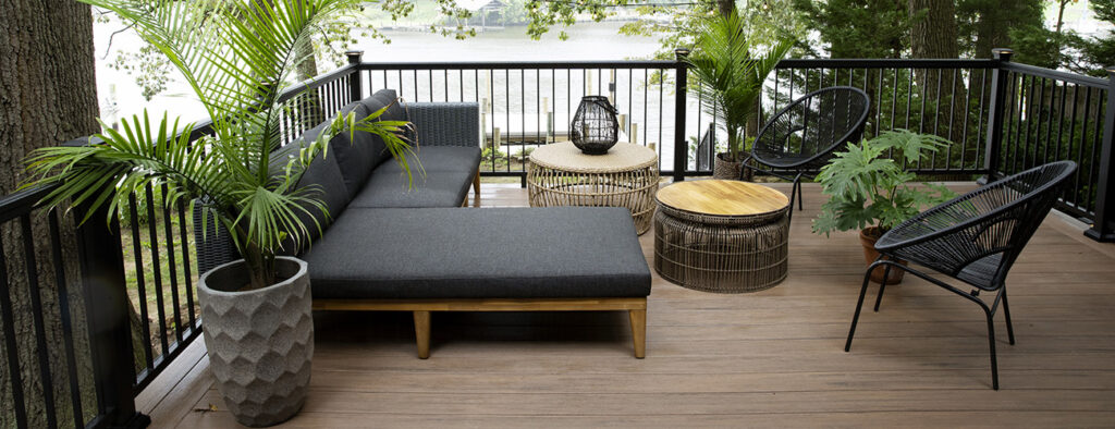Simple Deck Ideas featuring TImberTech AZEK Vintage Collection English Walnut Cabin Deck