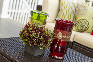 Backyard porch decor ideas colored vases and greenery
