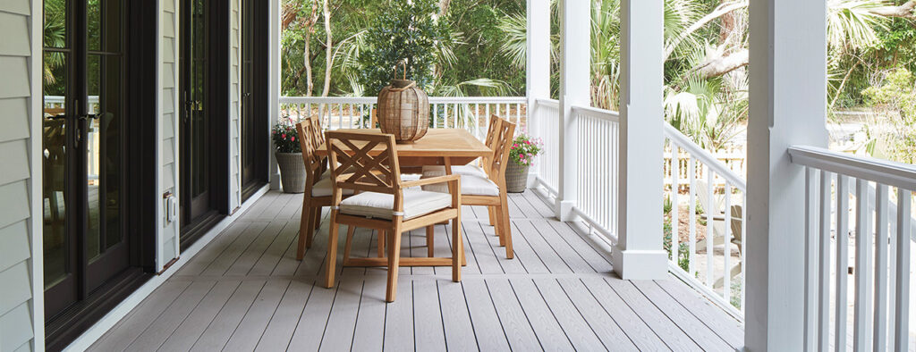 Backyard Porch ideas TimberTech Porch AZEK Harvest Slate Gray & White Premier Rail