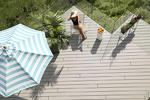 Aerial view of gray composite decking by TimberTech