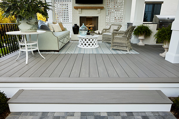 TimberTech Porch in Coastline with Fireplace & TV