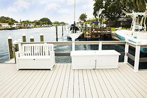 Heat resistant composite decking dockside featuring TimberTech AZEK Harvest Collection in Slate Gray