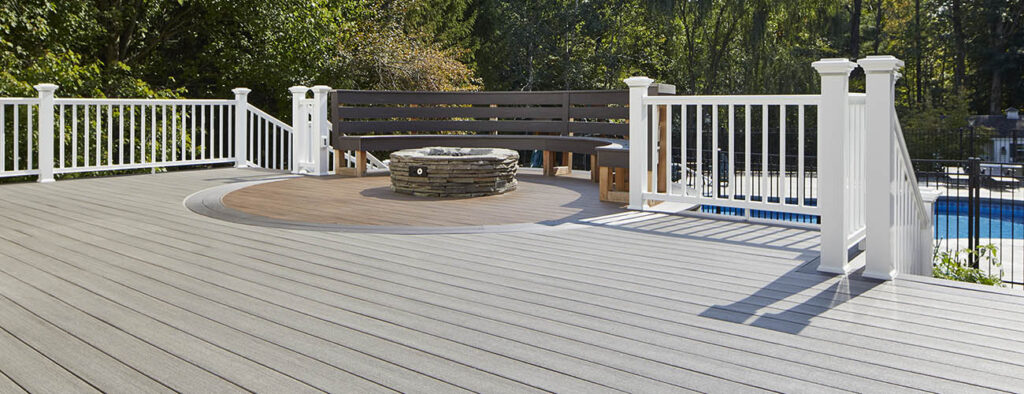 Heat resistant composite decking featuring TimberTech AZEK Vintage Collection