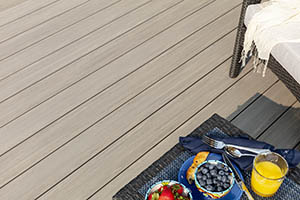 Heat resistant composite decking in Coastline from the TimberTech AZEK Vintage Collection