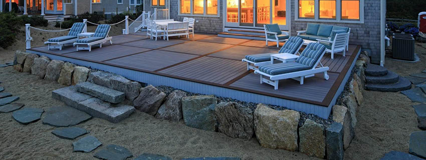 TimberTech tile pattern deck attached to beachfront home