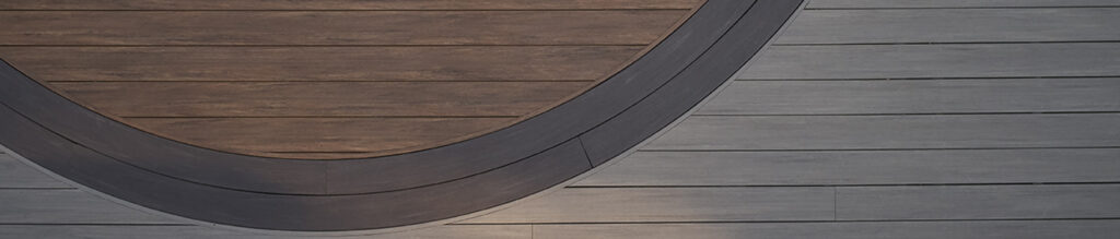 curved composite decking TimberTech AZEK Vintage Collection in Coastline Mahogany Dark Hickory circular inlay