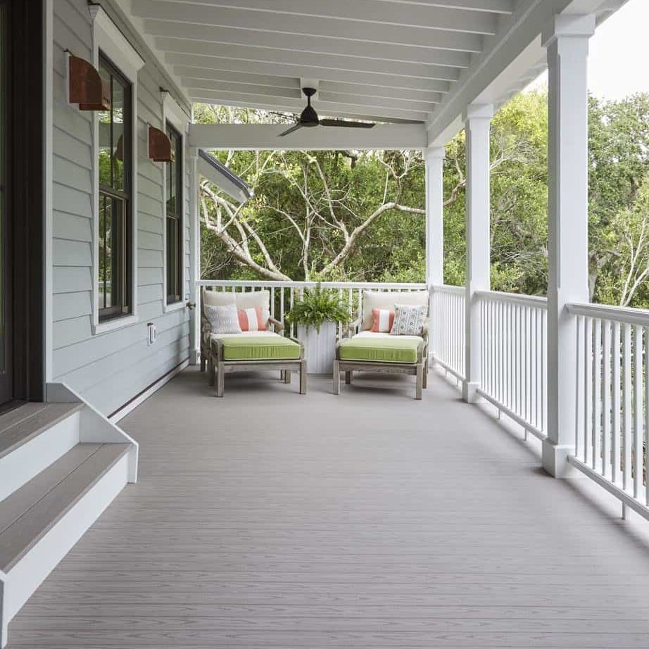 outdoor living products porch featuring TimberTech AZEK Harvest Collection Slate Gray with outdoor furniture