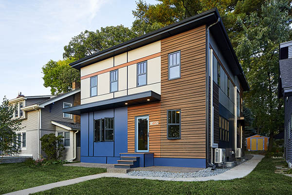 Exterior cladding on mid-century style home