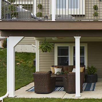 Column Wraps for Sophisticated Second-Story Deck