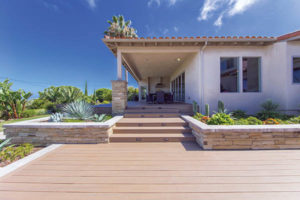 Introduce texture with landscaping and hardscaping