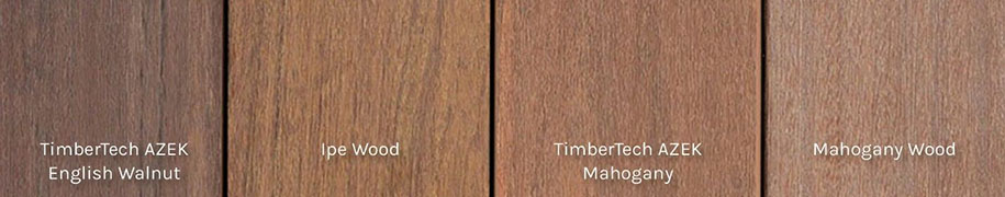 TimberTech AZEK decking and traditional wood samples in comparison