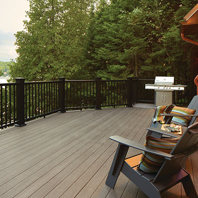 Durable DIY decking materials include TimberTech AZEK capped polymer decking