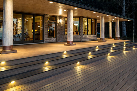 Deck steps with in-deck lighting