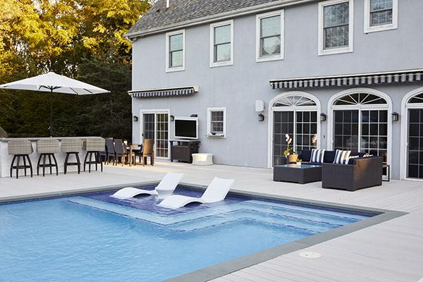 Back deck designs including pools