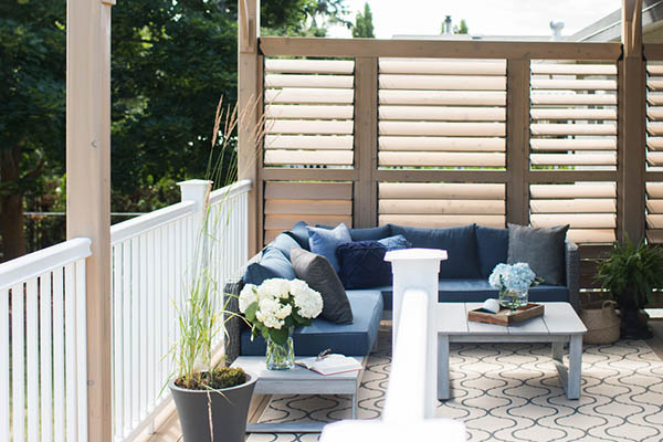Add a privacy screen to create a cozy space