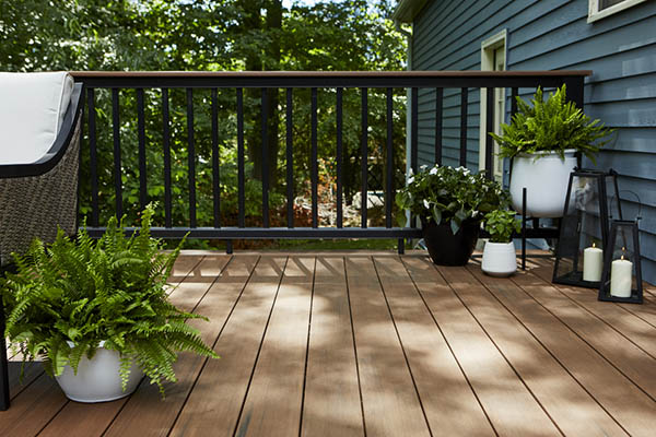 DIY composite deck materials include capped polymer decking