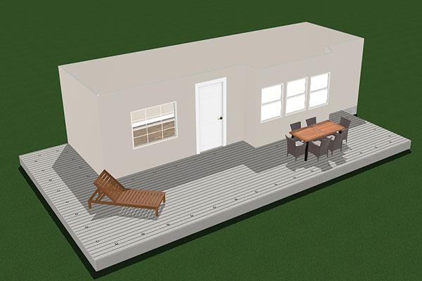 L-shape deck layout template