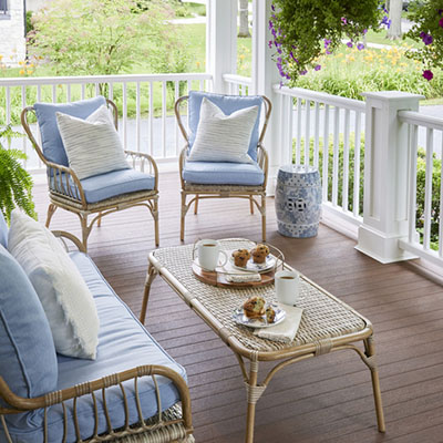 Covered front porch ideas featuring traditional furniture
