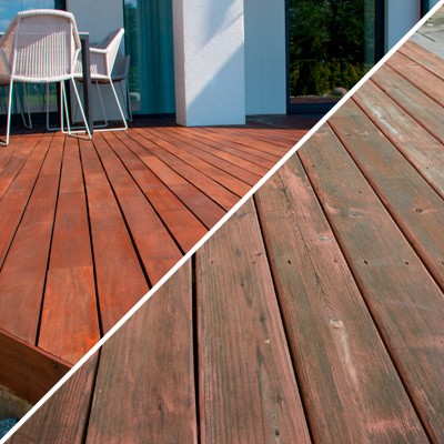 Composite image of new Ipe wood deck and distressed wood decking